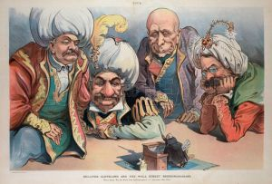 Uncanny use of Middle Eastern headgear on the Money Power's heads in this historical political cartoon. Some things never change, they just become even more entrenched.